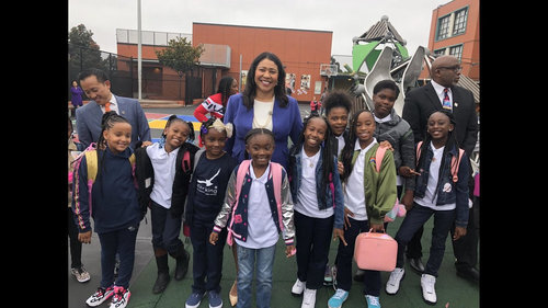 Mayor London Breed with Starr King students on the first day of school