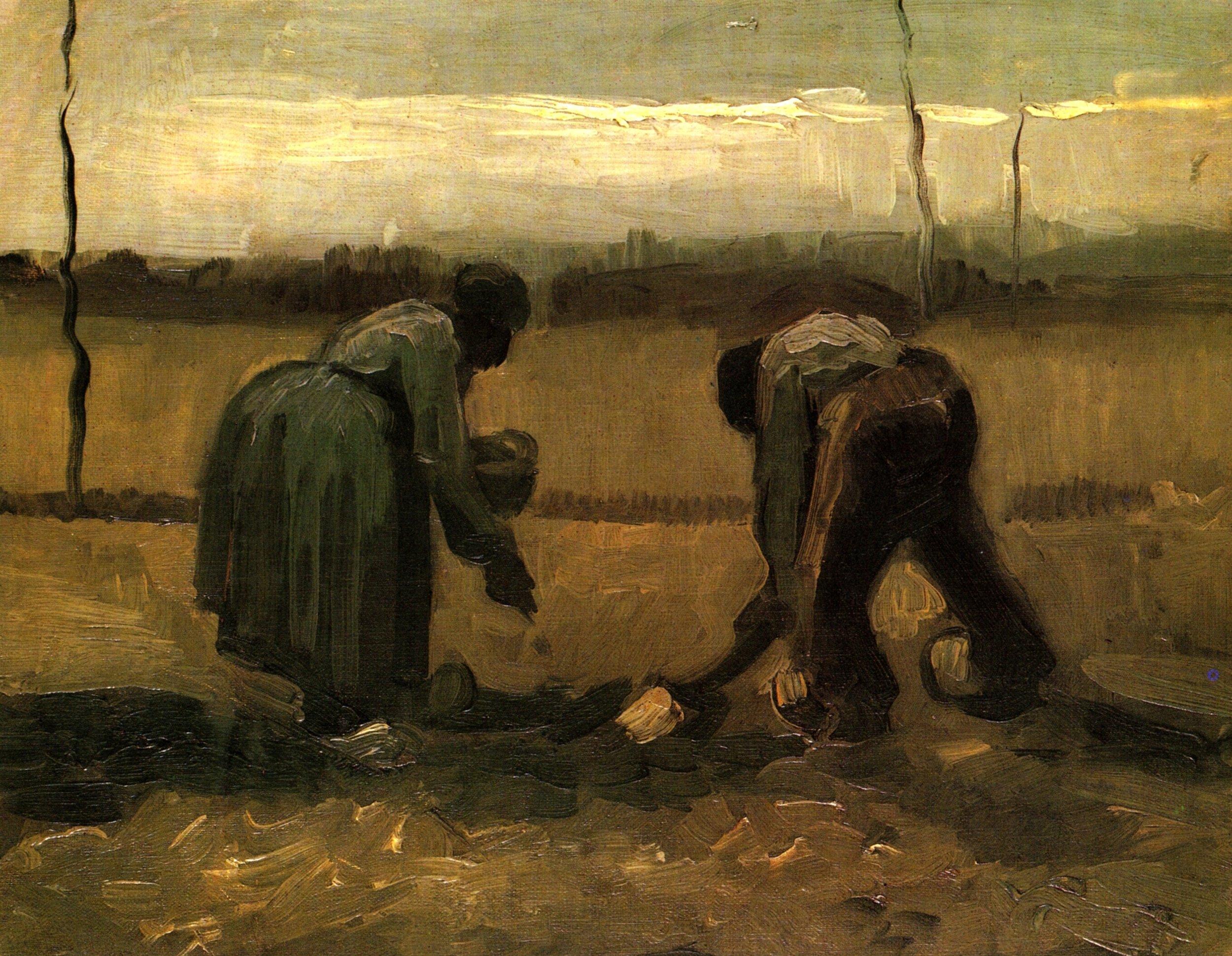 Peasant and Peasant Woman Planting Potatoes - Van Gogh