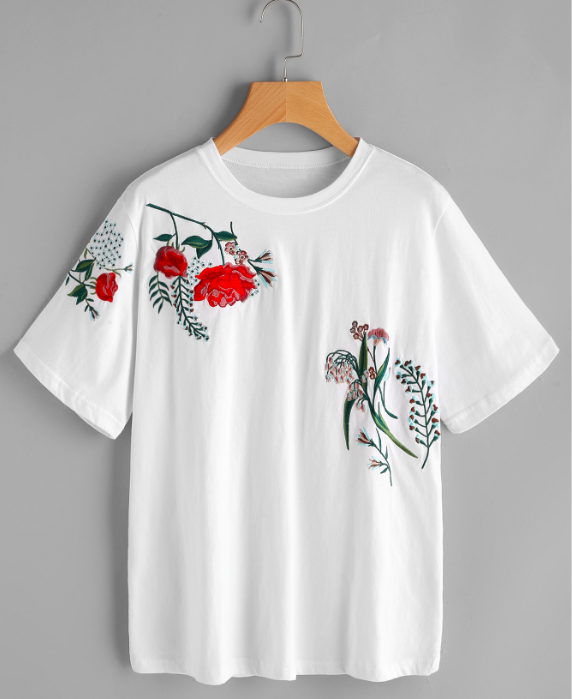 Flower Embroidered Tee - $16