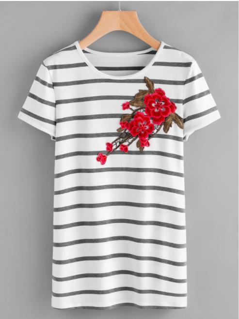 Stripe Embroidered - $10