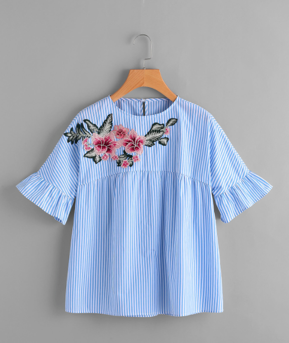 Embroidered Blouse - 4 colors available $15-$17