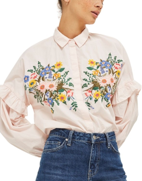 Topshop Forest Floral Embroidered Shirt: Sale $24.99, Regular $50.00