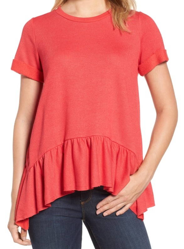 Gibson Ruffle Hem Sweatshirt: Sale $26.98, Regular $54.00