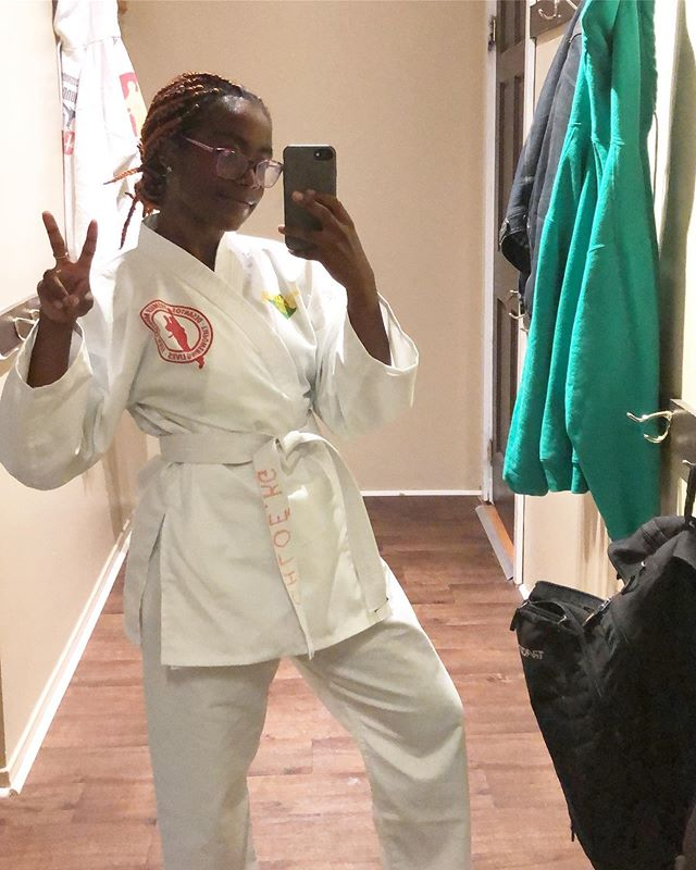 Here's to keeping promises to ourselves. I earned my white belt today! 🥳