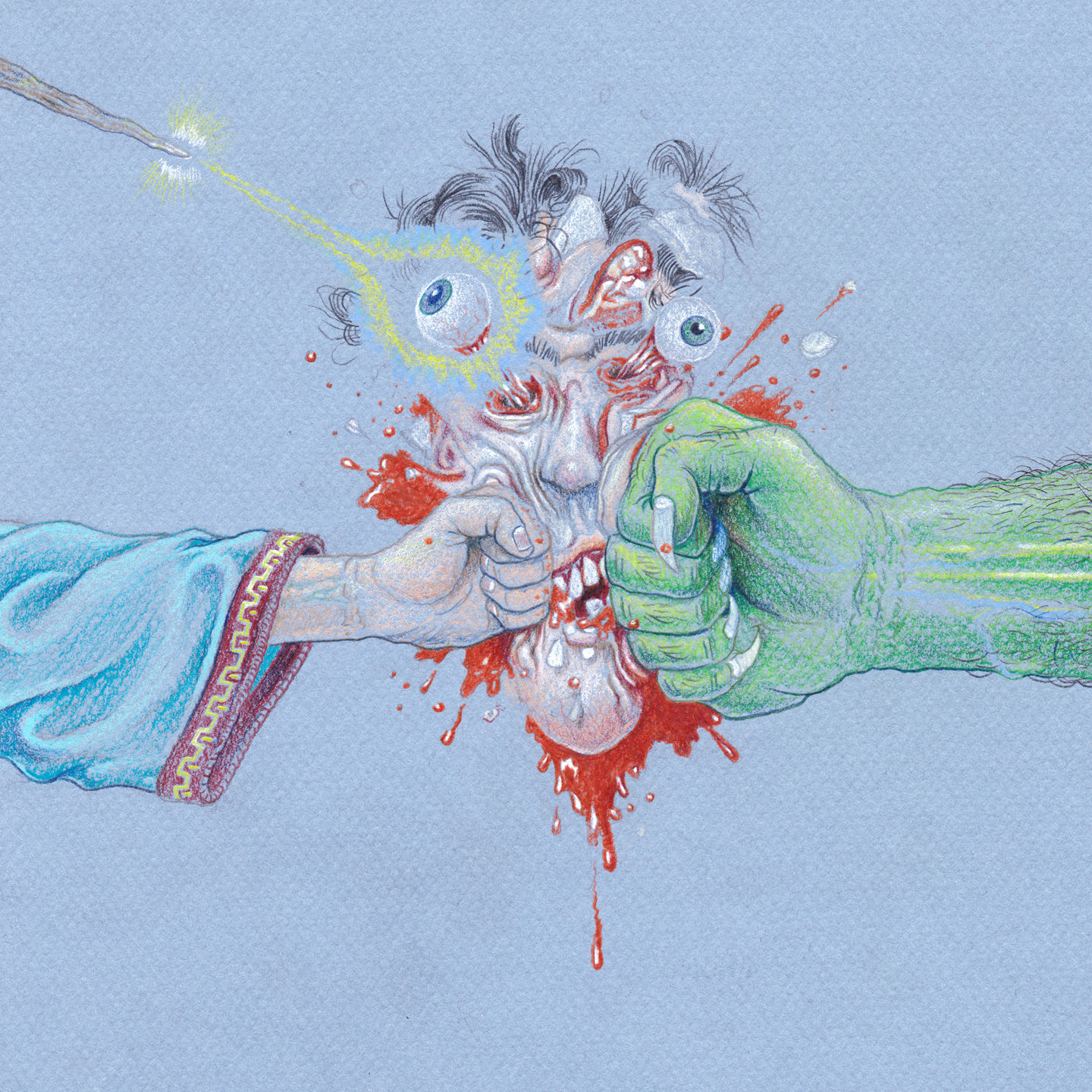 """From Both Sides, 7.5"""" x 7.5"""", colored pencil on paper"""