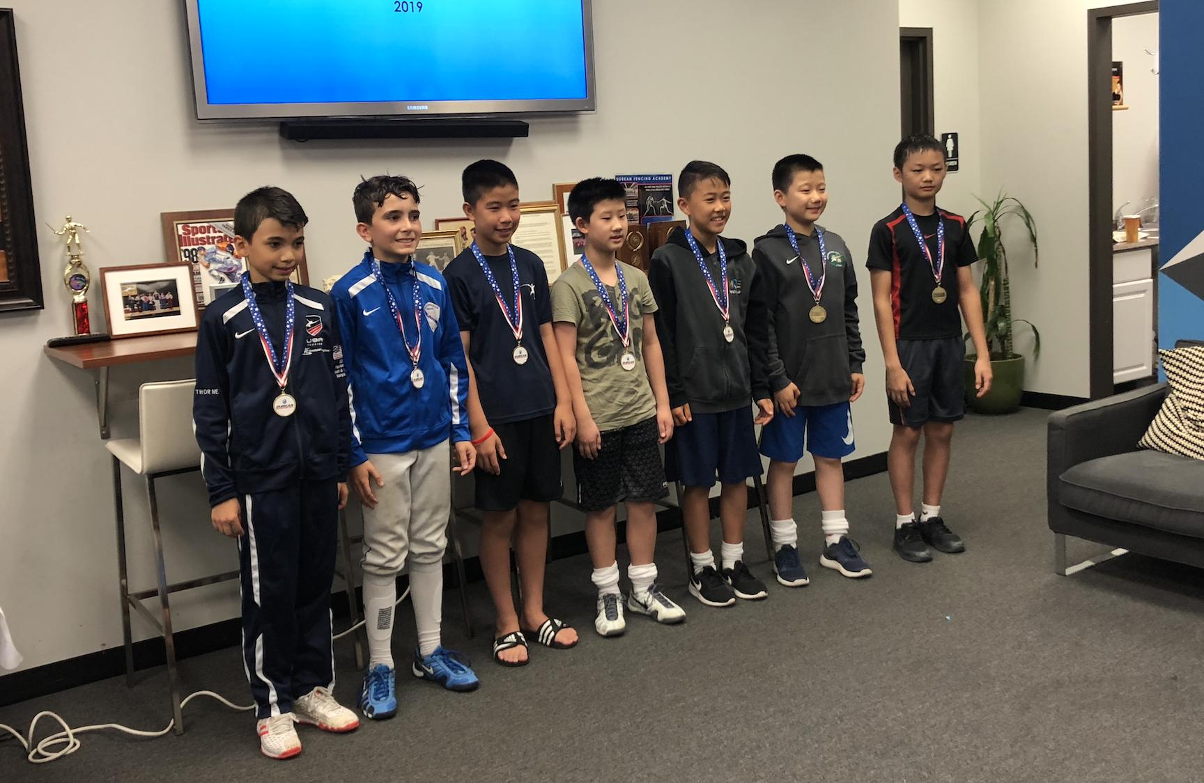 Durkan Fencing Academy RYC    Sebastian Garcia 2nd place Y12 Mens Foil  August 18th 2019