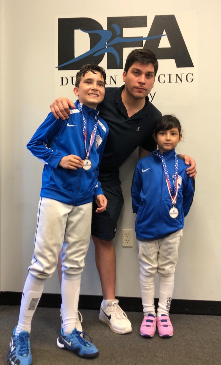 Durkan Fencing Academy RYC   Sebastian Garcia 2nd place Y12 Mens Foil  Emily Cascone 3rd place Y12 Womens Foil  August 18th 2019