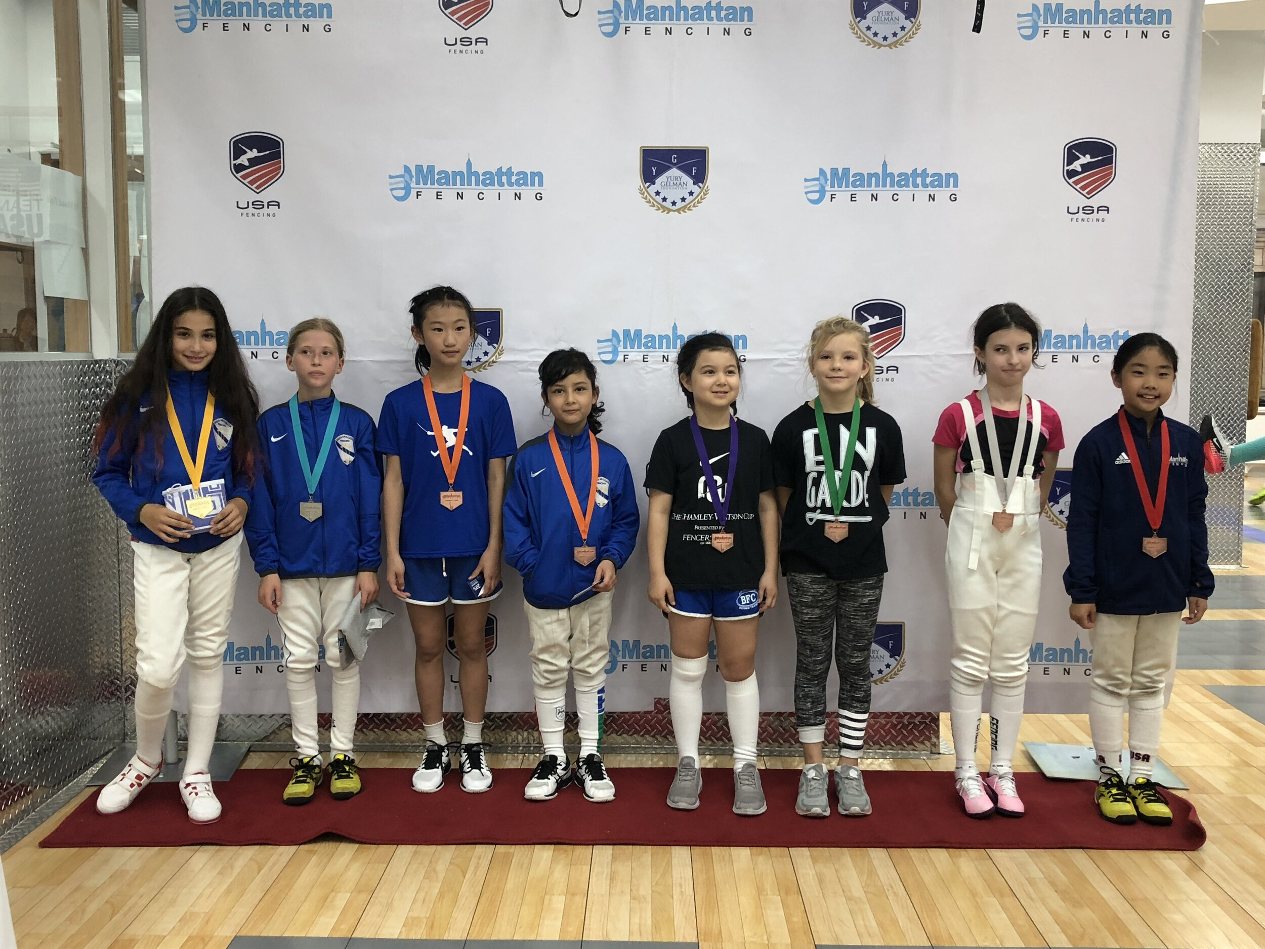 MFC Liberty Cup Y10 women's foil  Sara Amr Hossny 1st place Mariia Yurkova 2nd place  Emily Cascone 3rd place