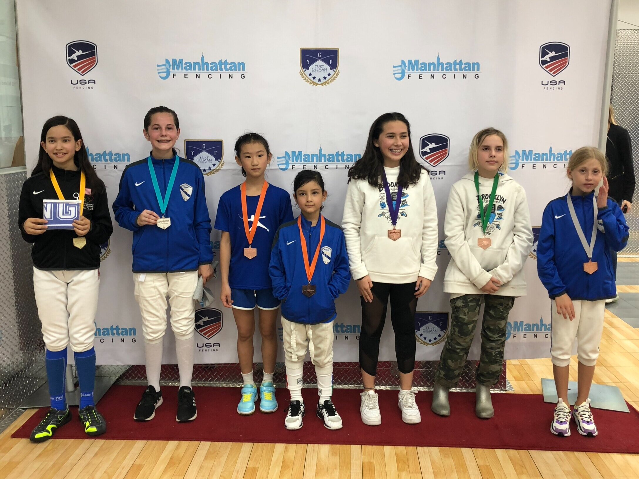 MFC Liberty Cup Y12 women's foil  Xeta Devlin 2nd place Emily Cascone 3rd place Mariia Yurkova 7th place
