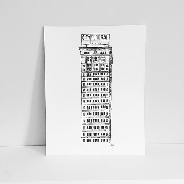 My favorite #Birmingham building. More prints for purchase added to the site. #cityfederal #penandink #instagrambham