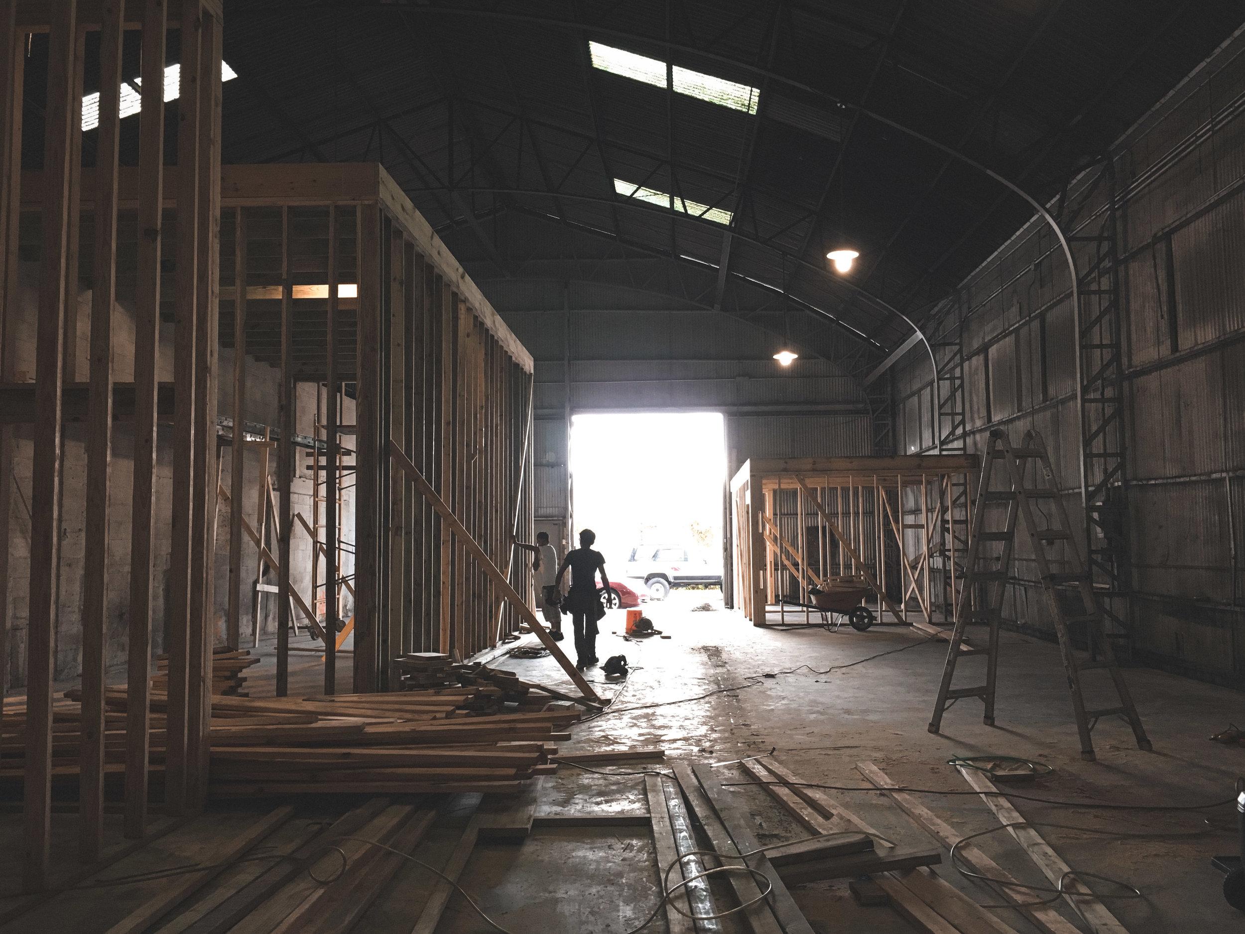 New Orleans_Miel Brewery_Construction_Wall framing.jpg