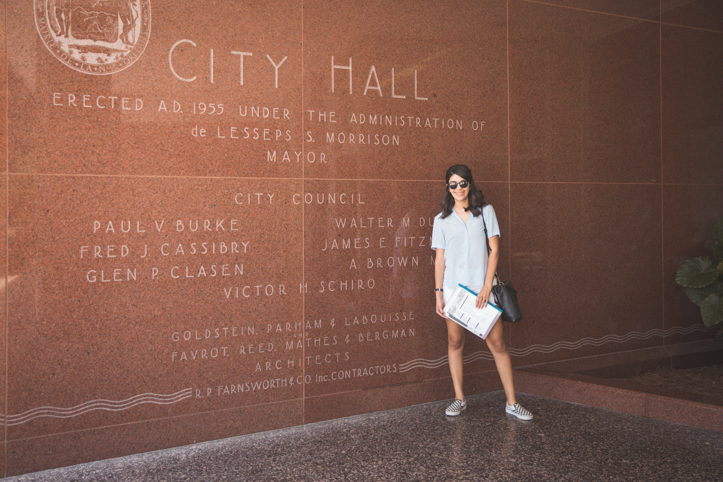 New Orleans_Miel Brewery_July 2018_Janice at City Hall Entance