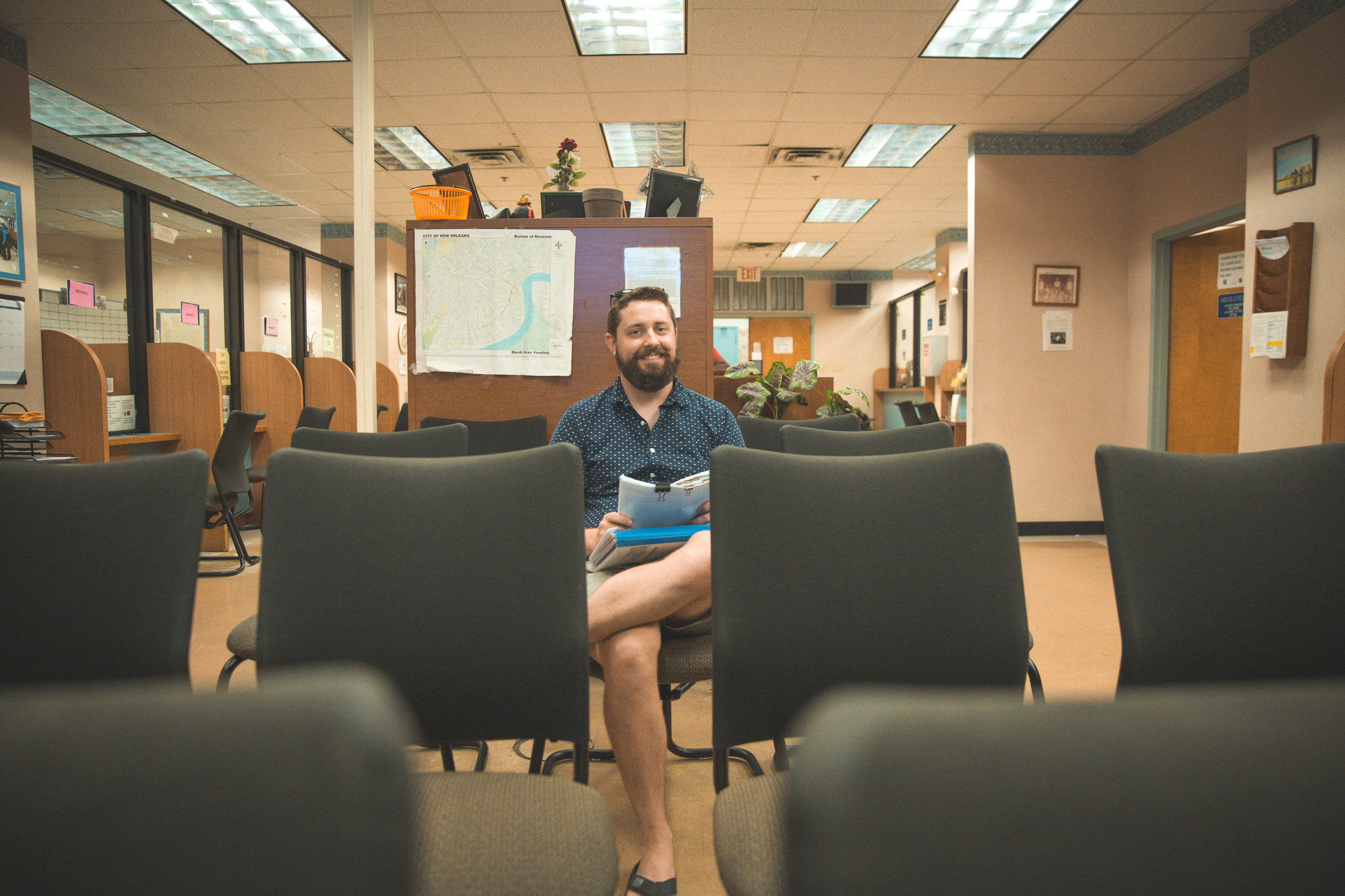 New Orleans_Miel Brewery_July 2018_Alex at City Hall waiting room