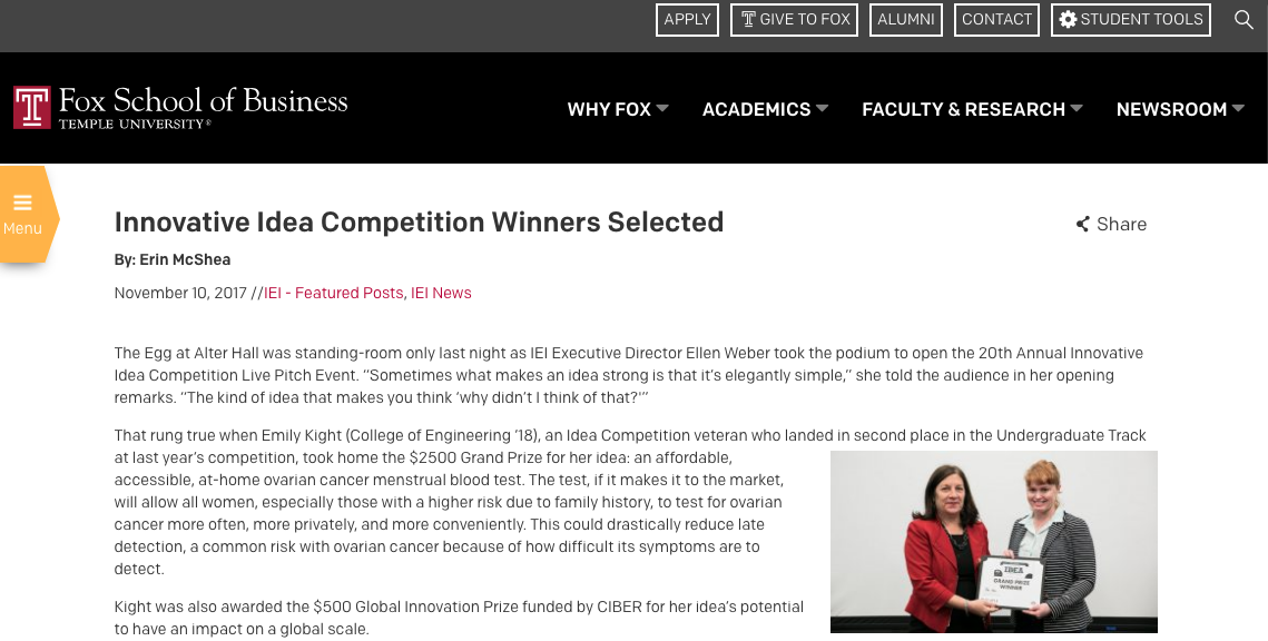 Grand Prize Award - 20th Annual Innovative Idea Competition