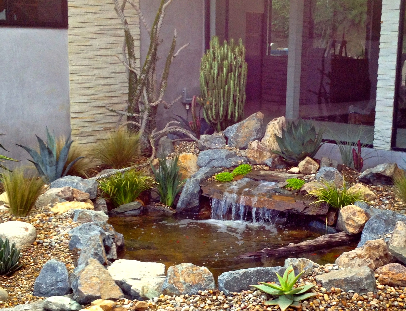 completed entry-way fountain