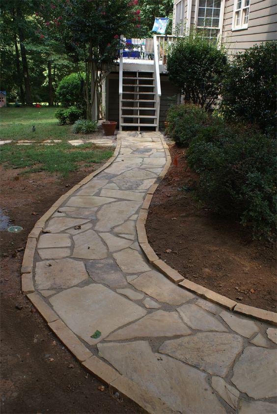 Rubble Walkway Edging Installation