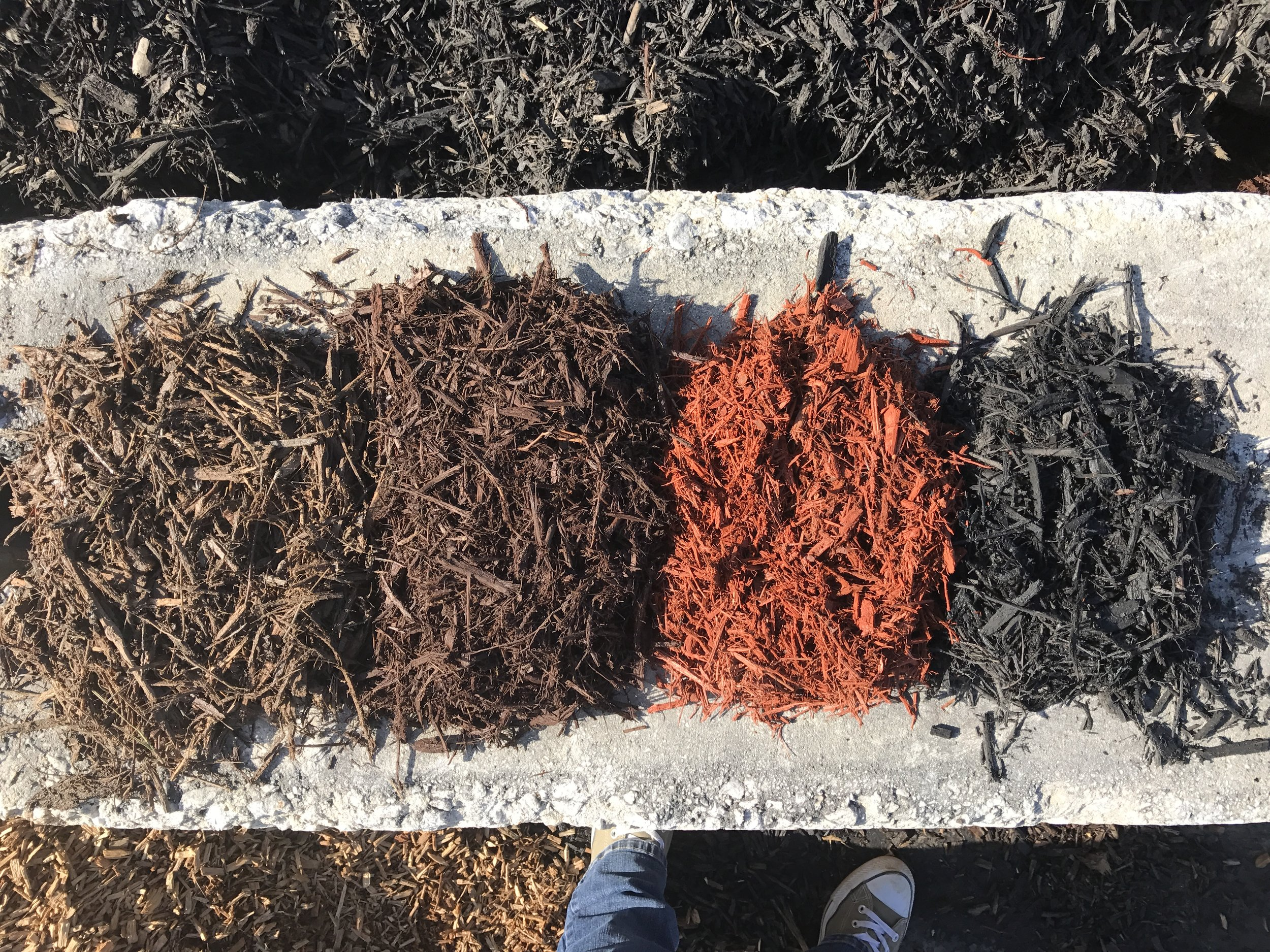 From left:Natural, Brown, Red & Black