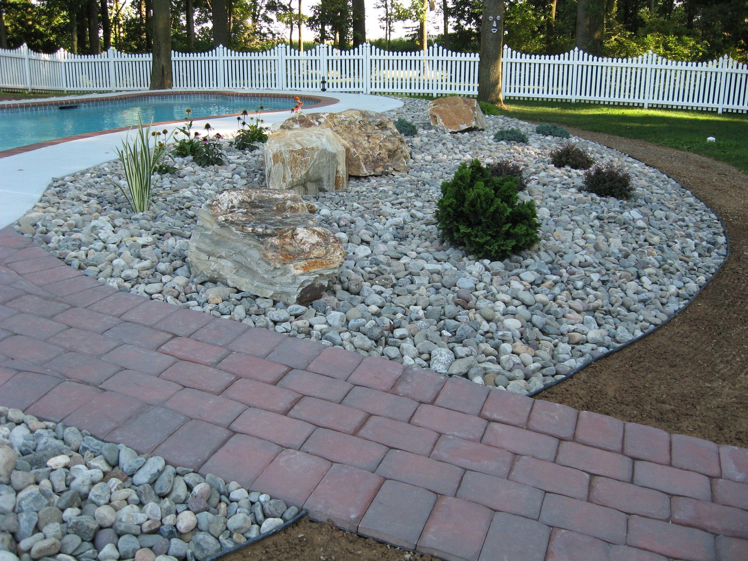 River Pebble Garden Installation