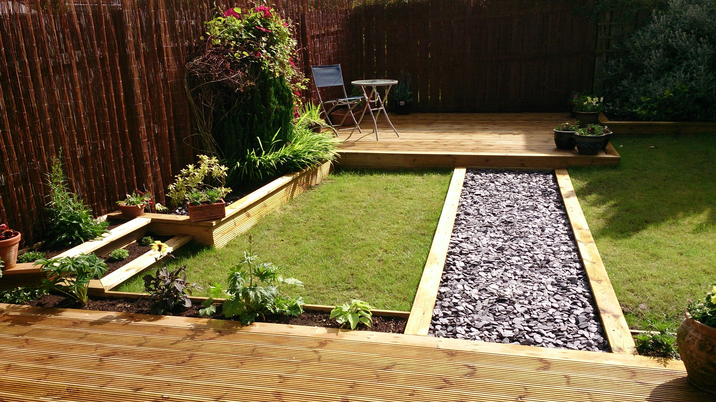 Slate path between decks
