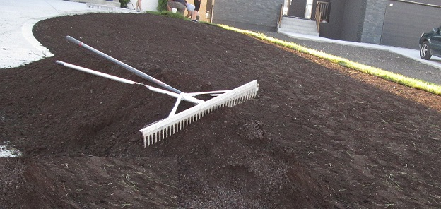 2. Add some good Sod Mix to the area to ensure healthy soil for the sods root system.