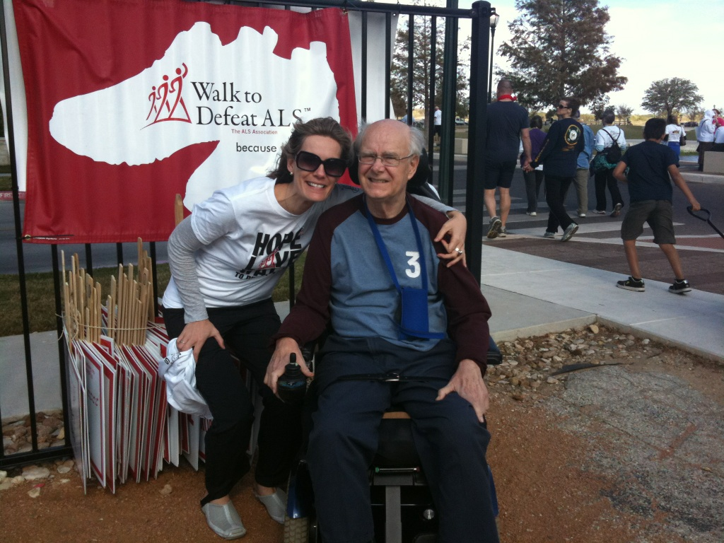 My Dad, Ken, and I at our first Austin ALS Walk together in 2011.