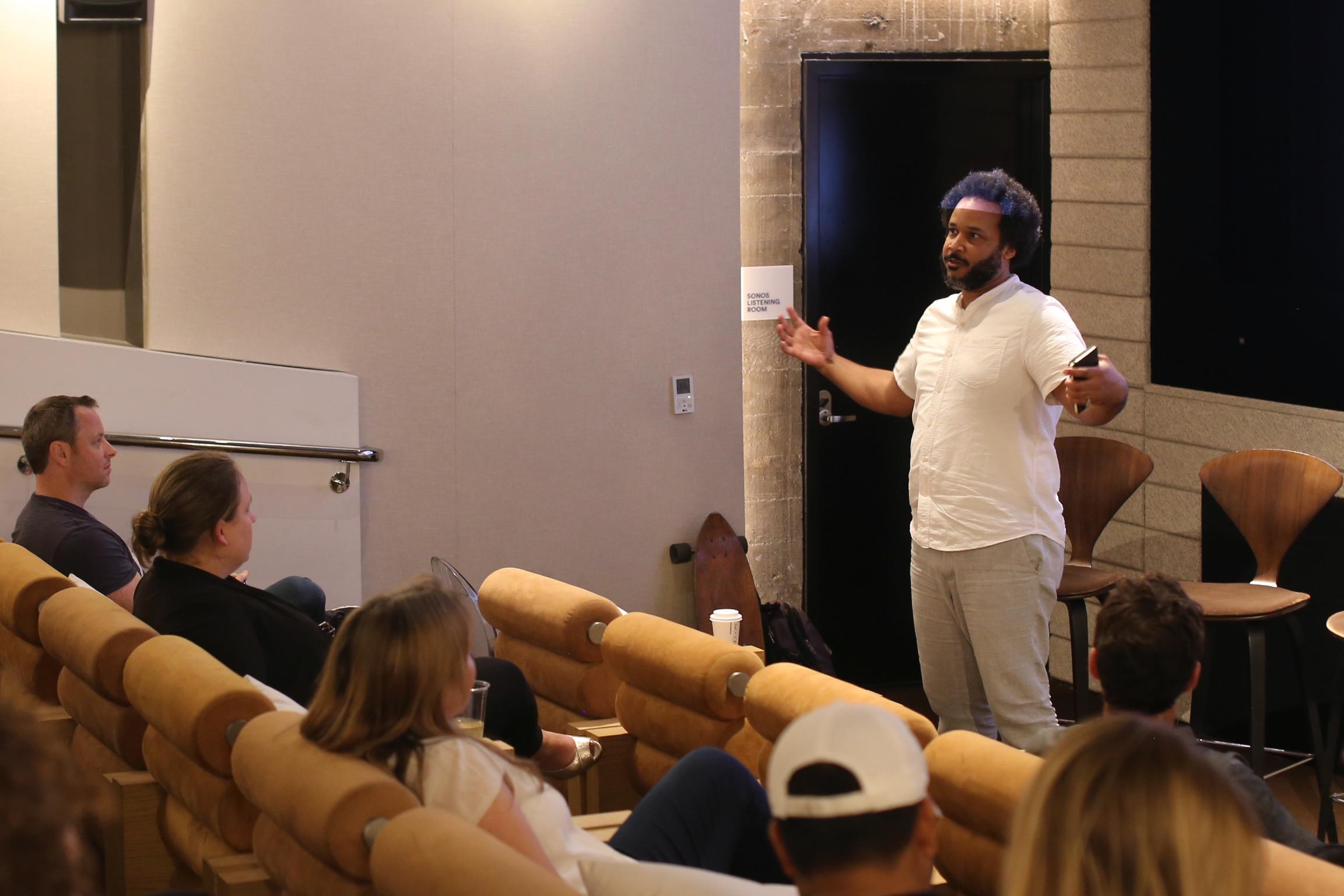 Science Speed Dating presenter Tahir Hemphill,at NeueHouse Hollywood. (photo:James Kennon Smith)