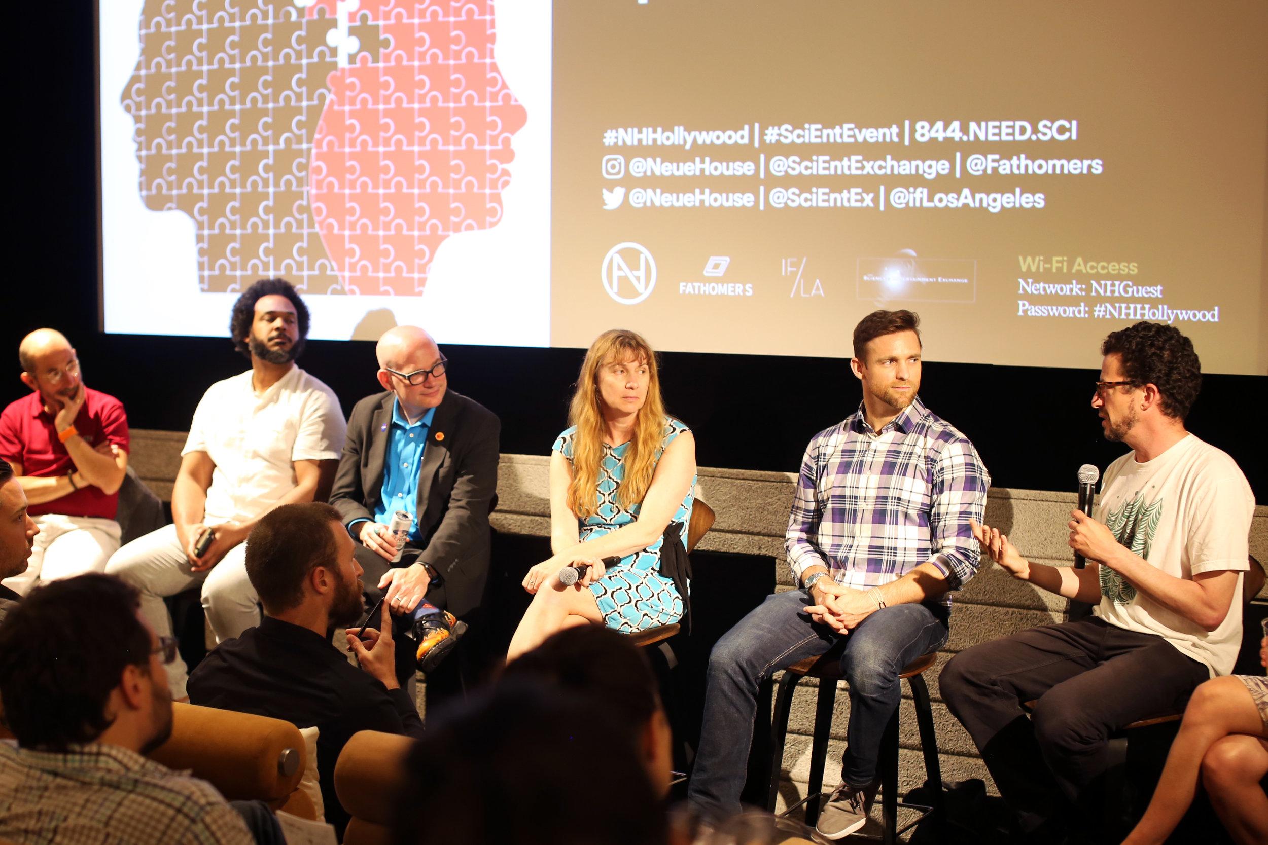 Science Speed Dating presenters (left to right): Joaquín Madrenas, Tahir Hemphill, C. Alex Young, Maja Matarić, Zach McKinney, and Phil Ross;at NeueHouse Hollywood. (photo:James Kennon Smith)