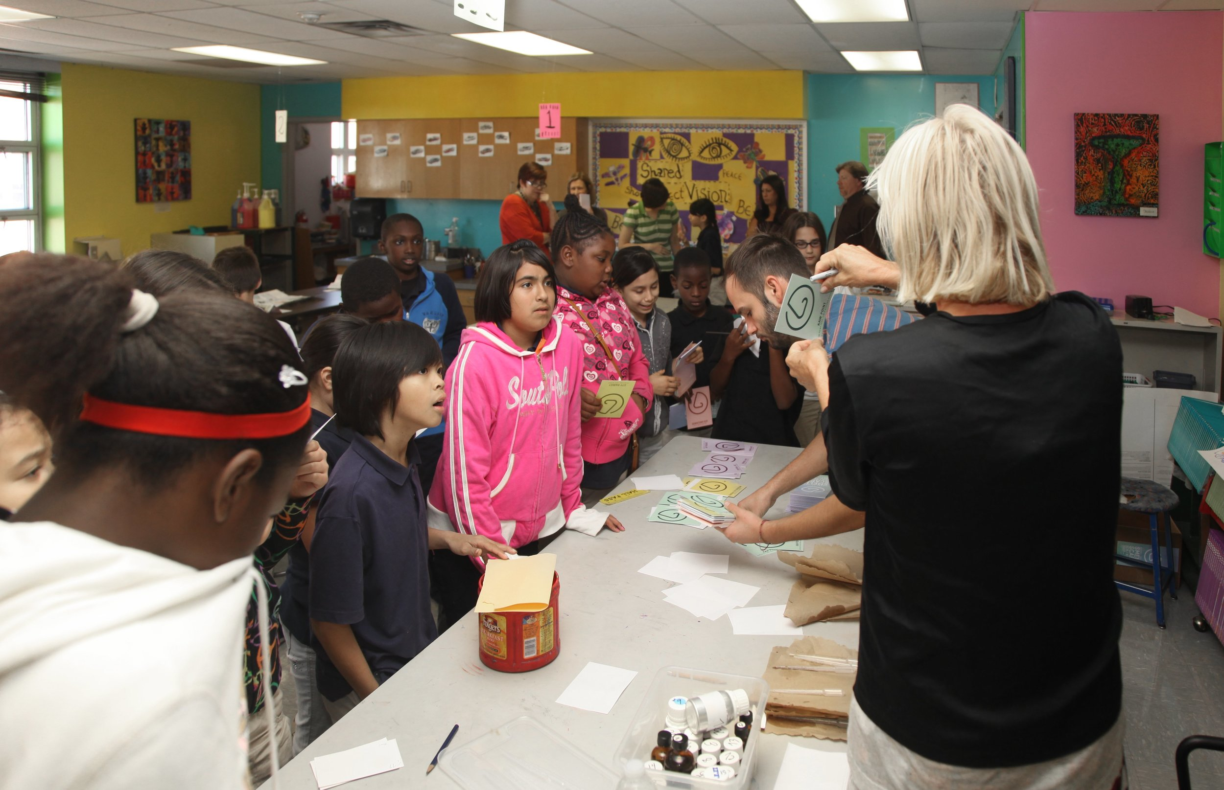 Smell Workshop with artist Sissel Tolaas and students from Alta Vista Charter Middle School, Kansas City, Missouri, 2012. (photo: Megan Mantia)