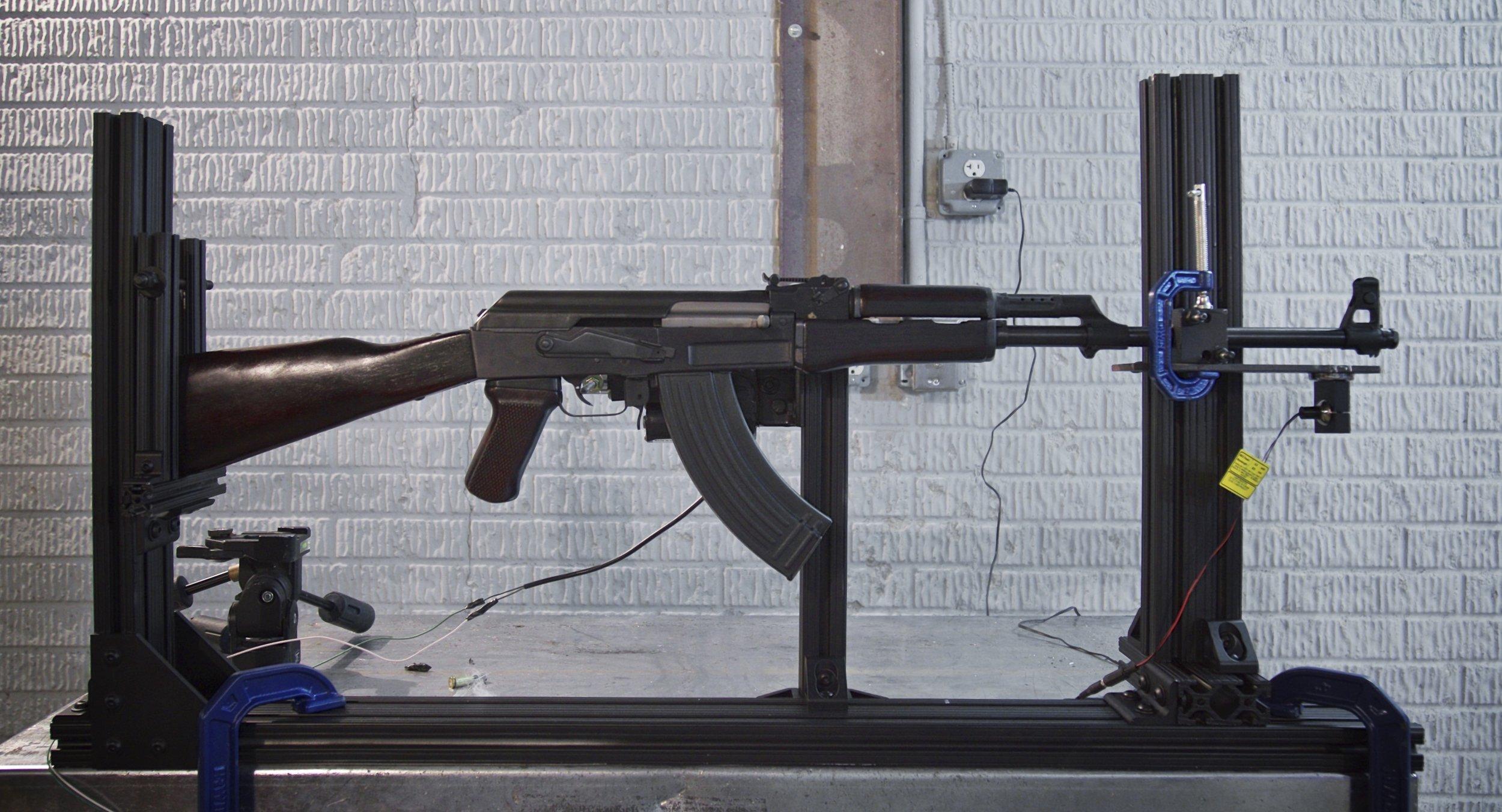 AK-47 used during ballistic testing, 2015