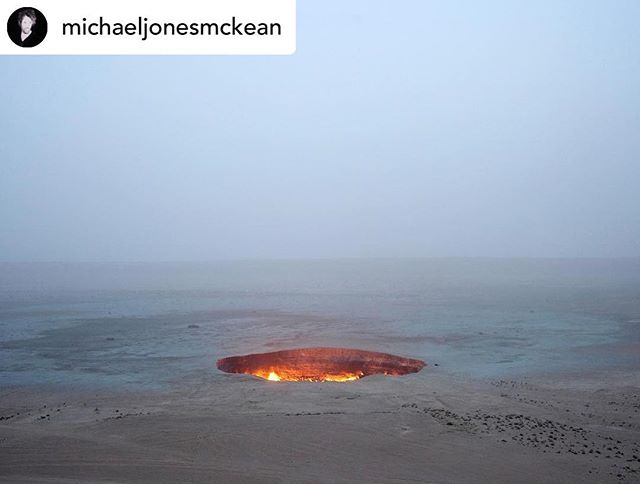 Posted @withrepost • @michaeljonesmckean RESEARCH: The 'Door to Hell' near the desert village of Deweze in Turkmenistan -  a massive 230-foot-wide crater burning continuously... . . . #twelveearths