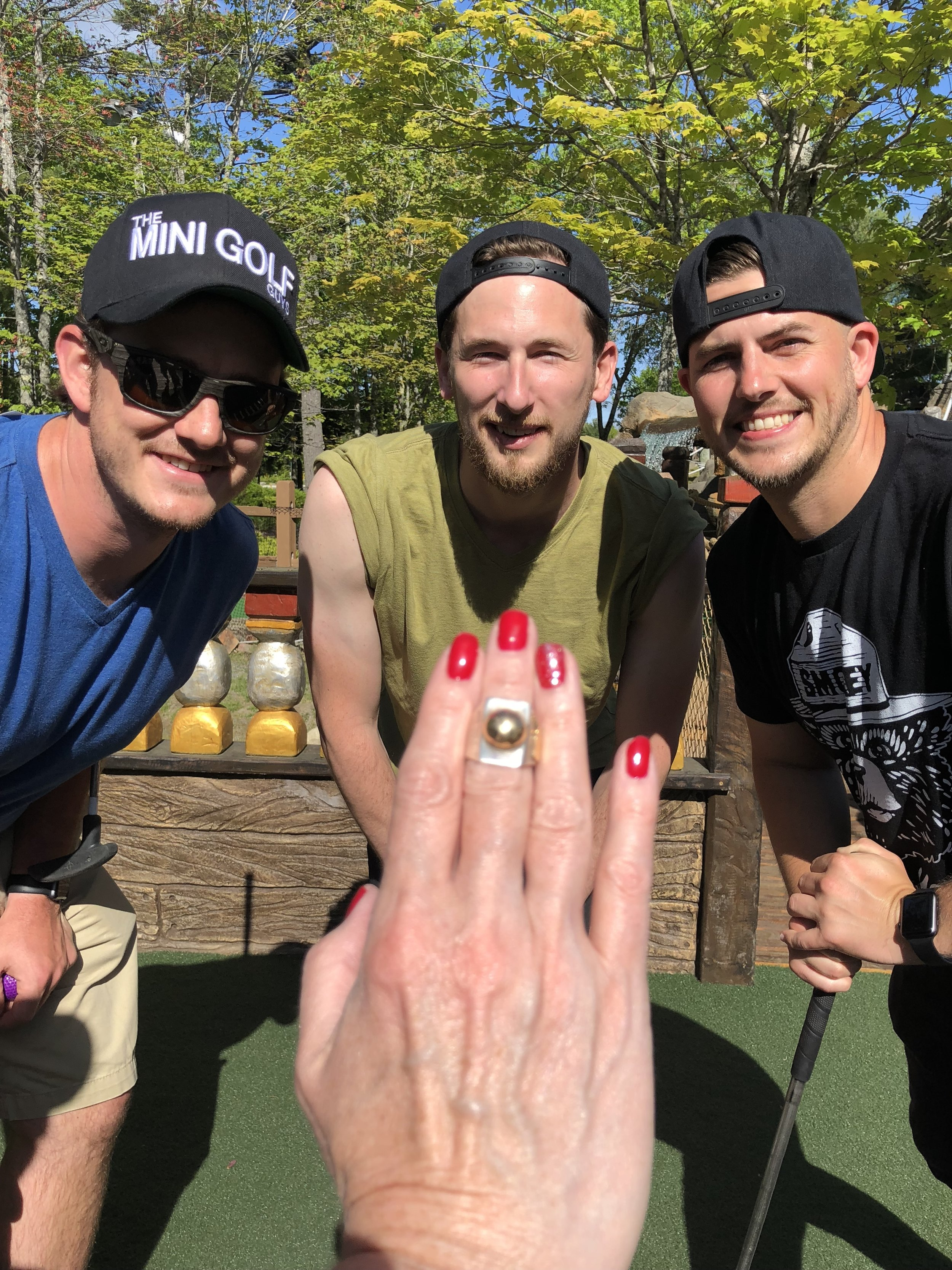 We showed off the ring to our #NewMiniFriend Lisa and her golfing partner Tobey while at Pirate's Cove on Mount Desert Island tonight.
