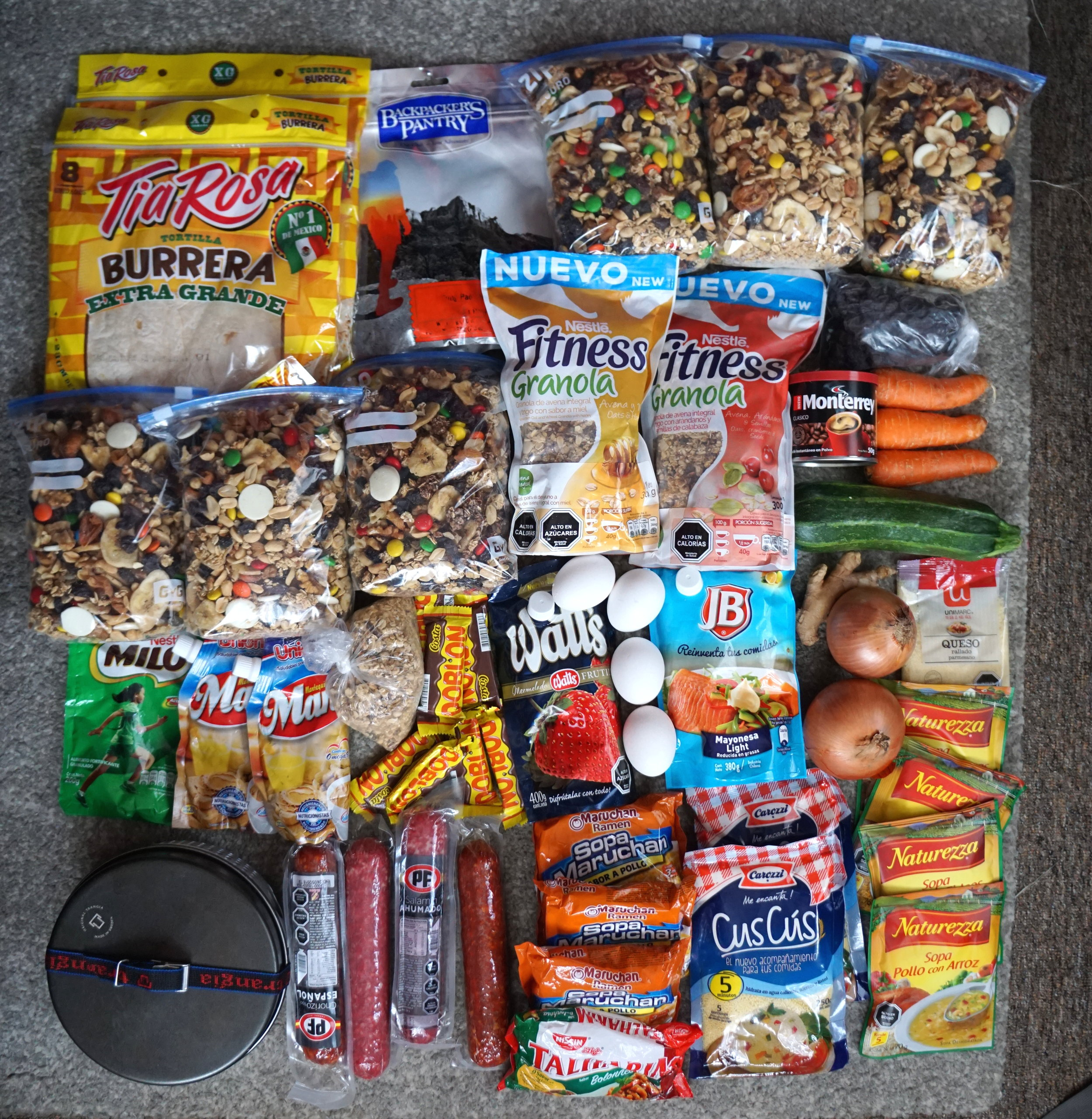 All our food for eight days of hiking!