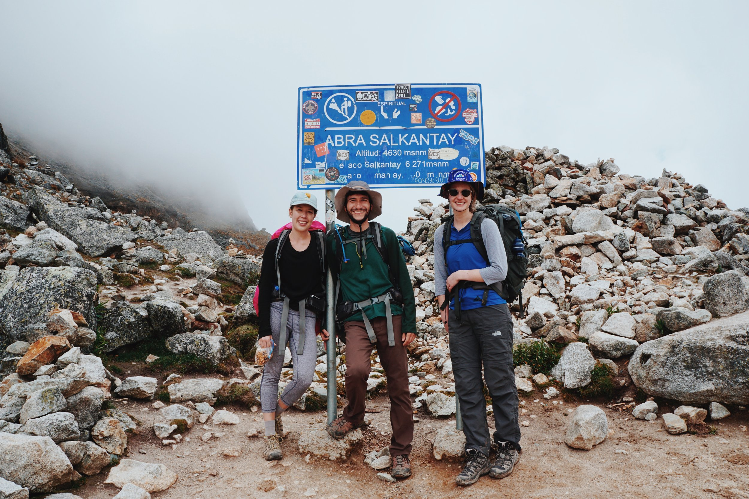 Day 1: At the top of the Salkantay Pass. Nerdy hats optional.