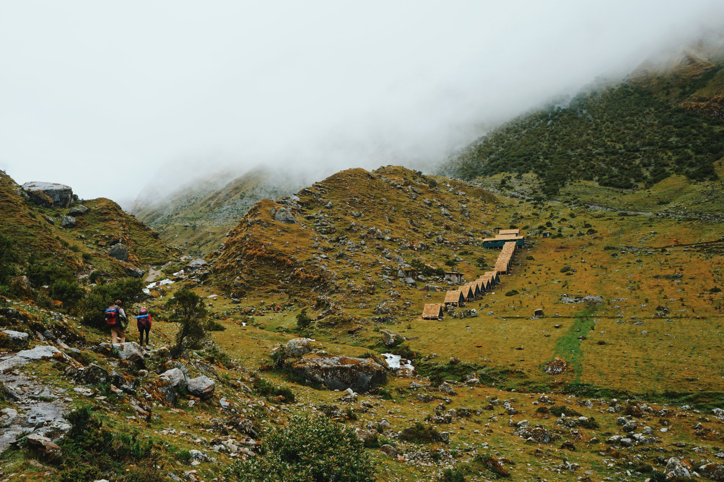 Day 1: Hiking up to the Salkantay Pass. Even though there are clouds hiding the mountains, it made for stunning scenery.