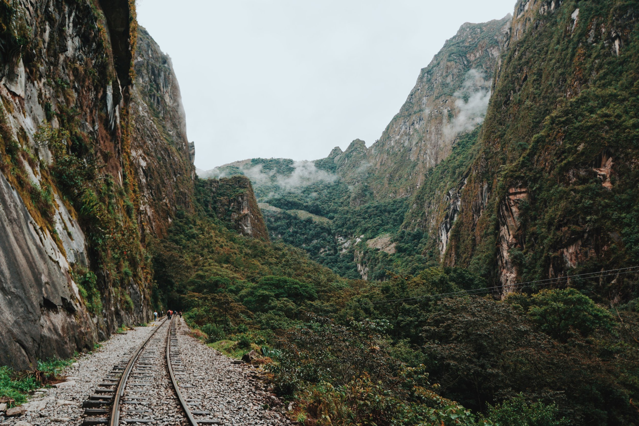 Hiking through the jungle along the train tracks to Aguas Calientes.