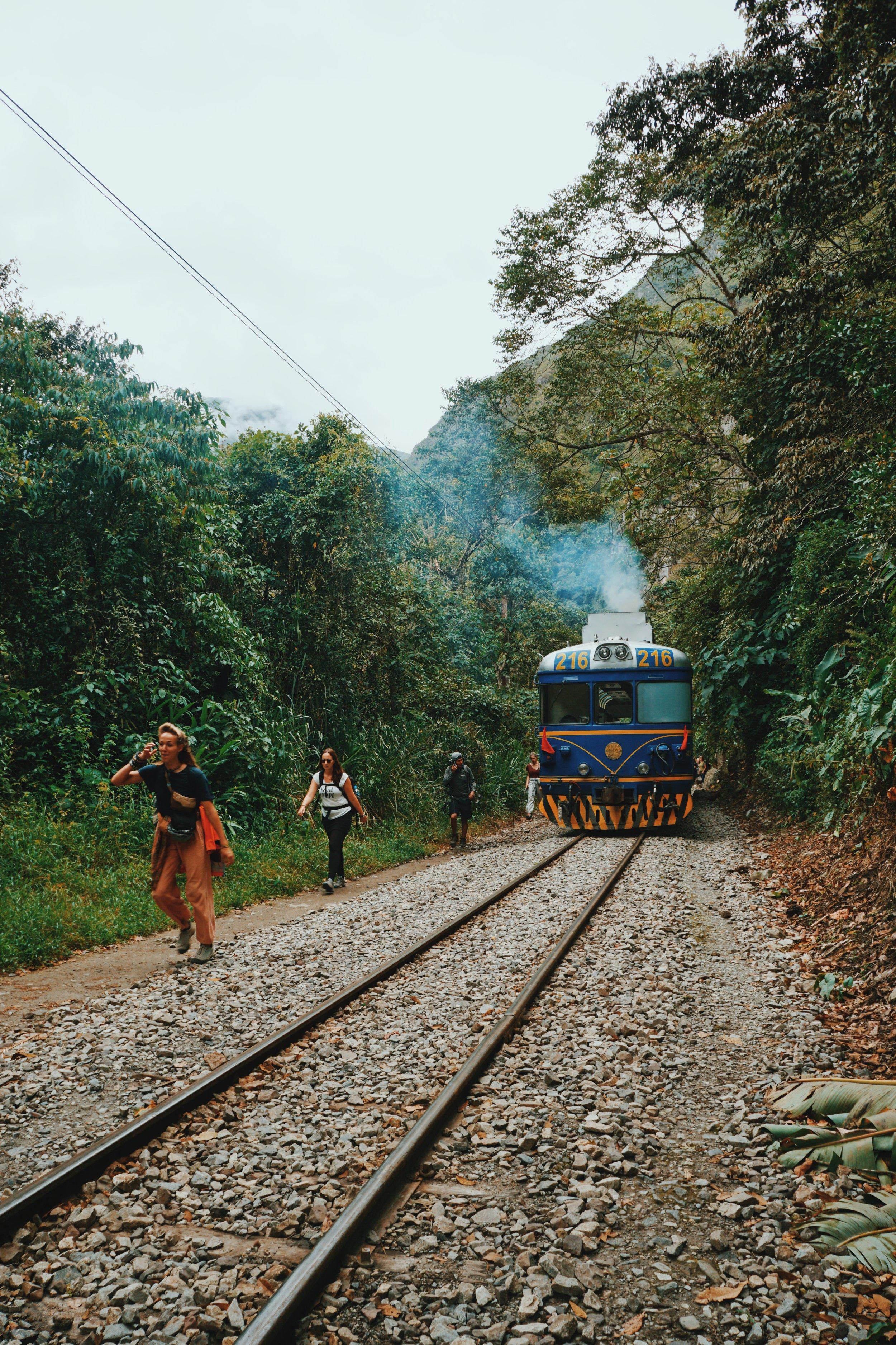 Walking the train tracks to Machu Picchu.