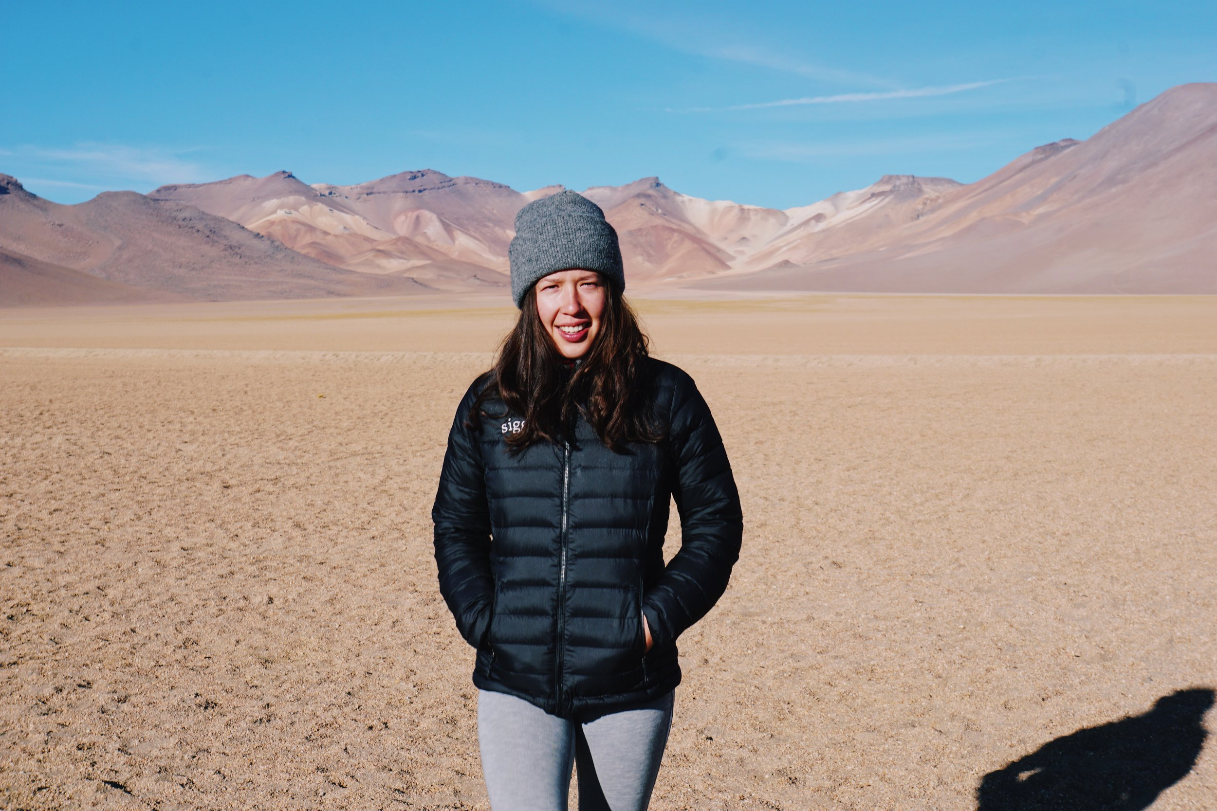 Left: Patagonia Synchilla Fleece in Huaraz, Peru. Right: Patagonia Down Jacket in Salar de Uyuni, Bolivia.