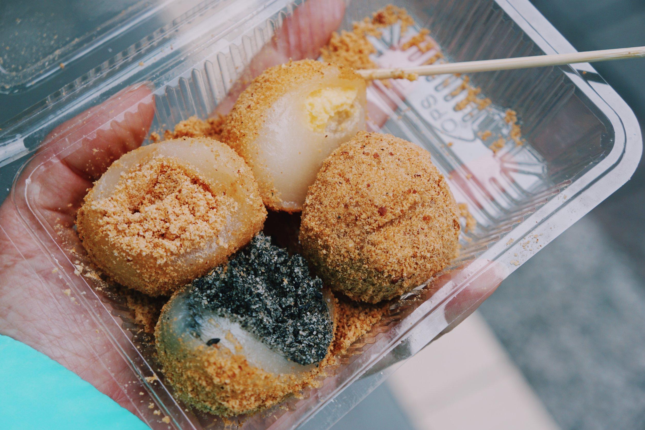 Buloa Hakka Traditional Mochi filled balls (flavors: peanut, black sesame, coconut, red bean), Taipei.