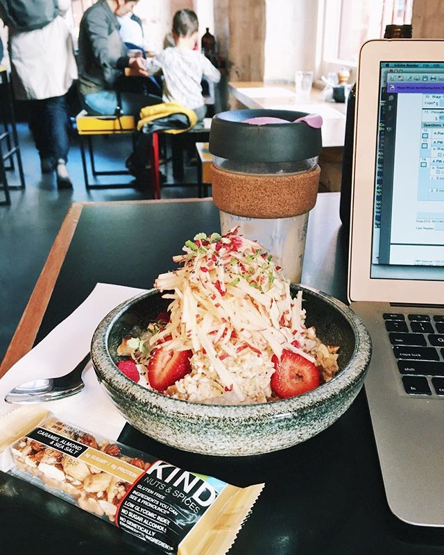 MELBOURNE ! it feels good to be home (again 😂). . a quick trip back to the motherland, which means one thing: BRUNCH. bircher muesli w/ mascarpone and lemon sago + almond milk latte + @KINDSnacks caramel almond & sea salt to fend off the jet lag later 🥳 let the 20 hours of being awake / breaking jet lag, begin! #KINDcollective #ad