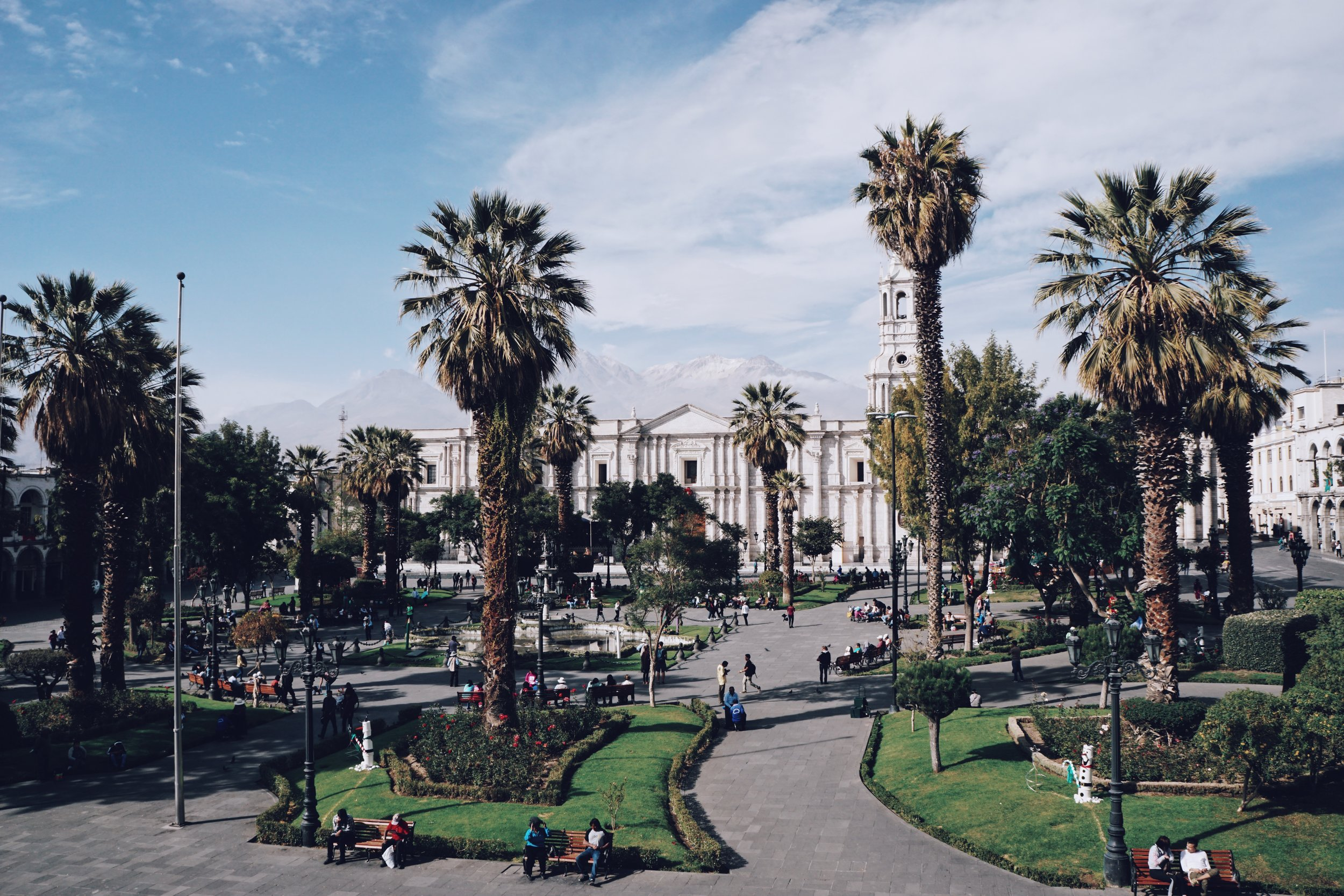 Above: Plaza de Armas Arequipa. Right: Lunch special at Ratatouille.