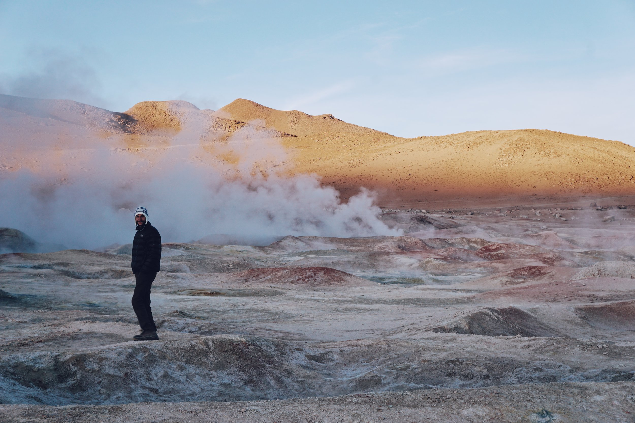 Sunrise and geysers on day three of the tour, just before crossing the Bolivia-Chile border.