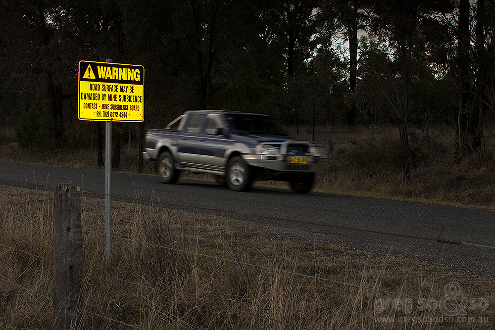 Subsidence warning sign, Wallaby Scrub Rd,