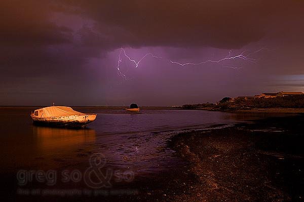 A sleepy boat sleeps the storm away