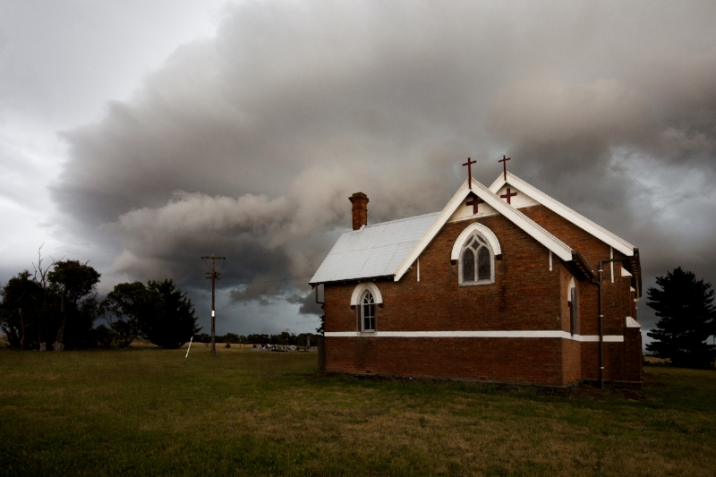 Gurrundah Church and storm