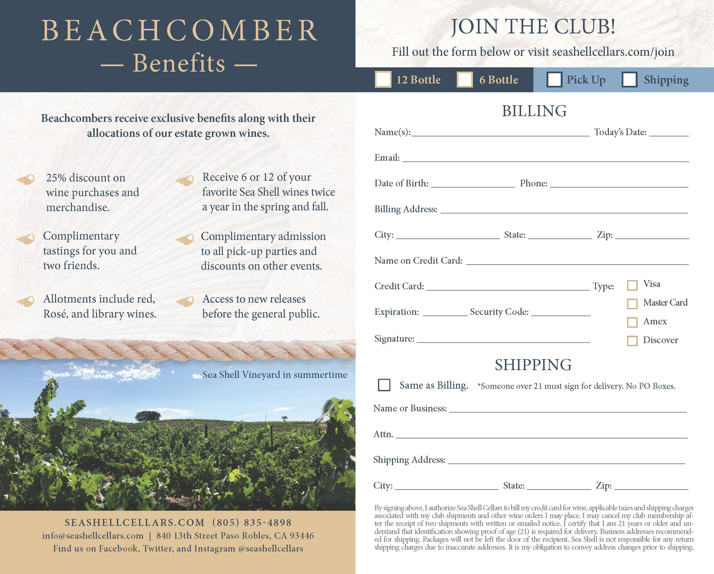Wine Club Sign Up Form