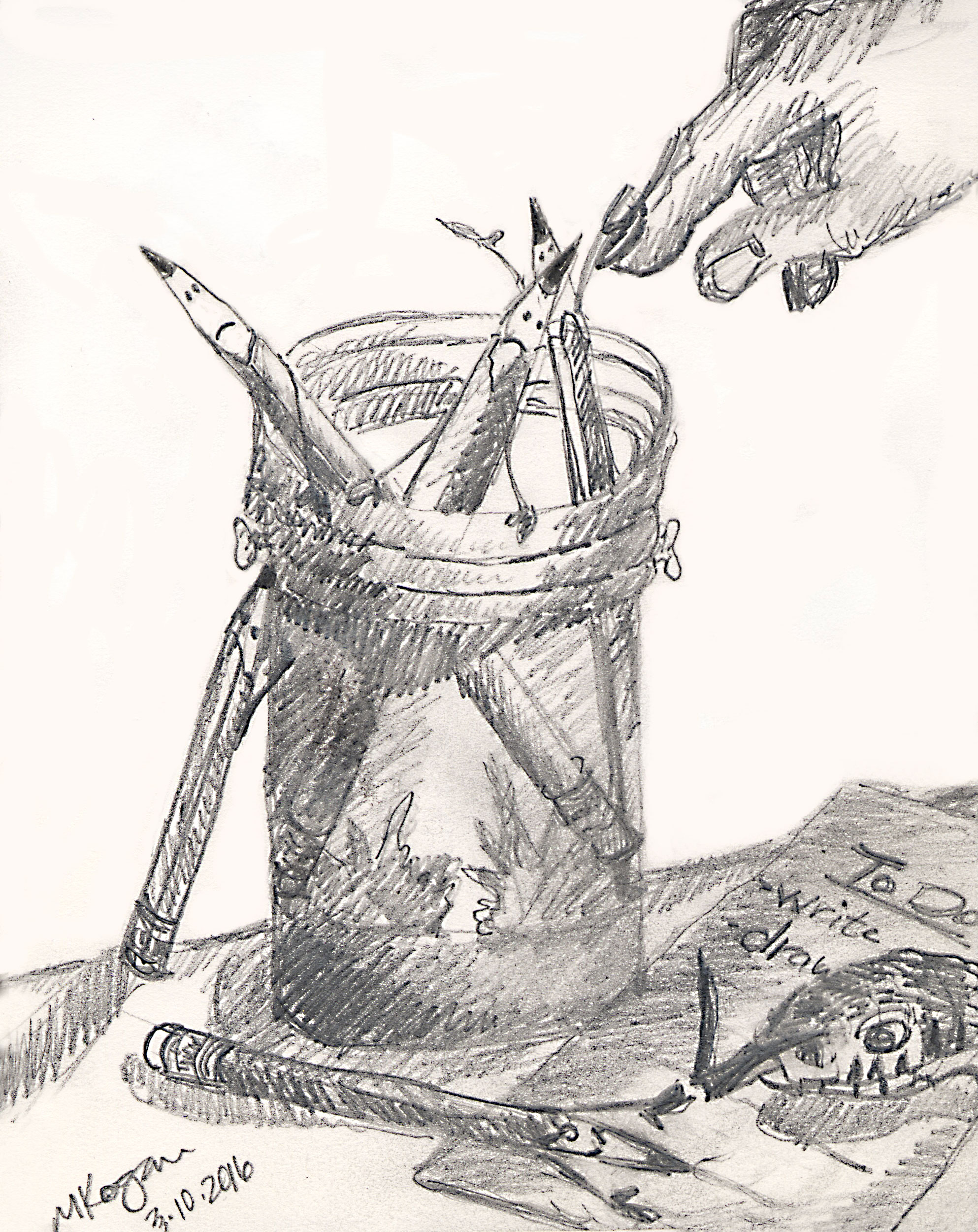 Unpretentious Pencil  © 2016 Michelle Kogan  Pencils peering out  waiting patiently for their purpose, or a person's poppycock to not so pleasingly pour  out… But wait there's more, those indescribable words winding off their points, even poppycock might  please an unpretentious  pencil. And still more… The sketch that dances off the tip, sends the tool into a tizzy for an eternity, till…   Exhausted, pencil rests, catches breath, and waits again patiently, with fellow pencils to be discovered once more…