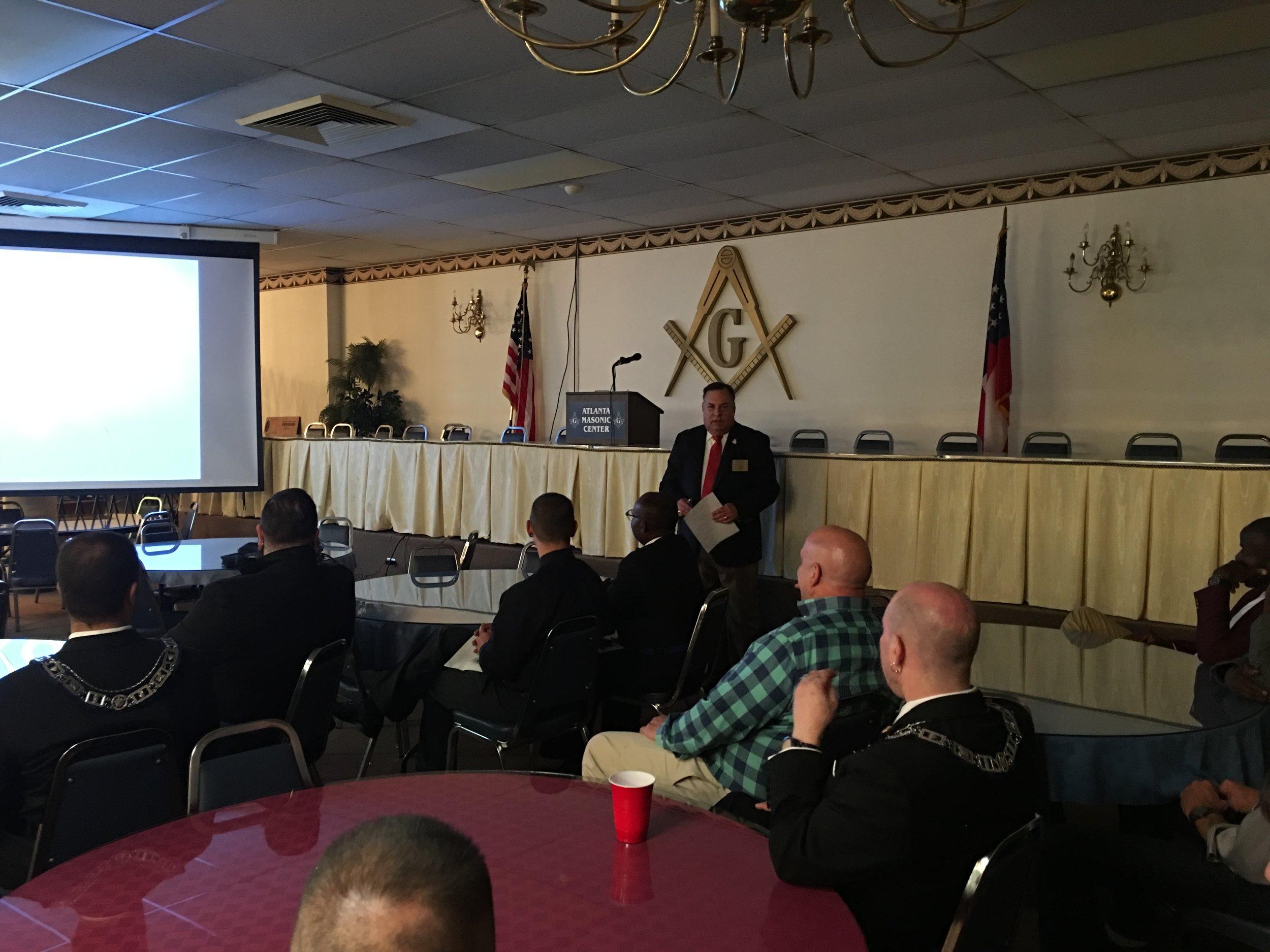 WB Kessler ( First Grand Steward of the GL of GA) giving presentation on the Atlanta Masonic Temples