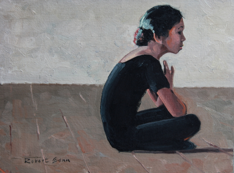Seated Girl in Black , 12x16,oil on canvas board, 1971 by Robert Genn