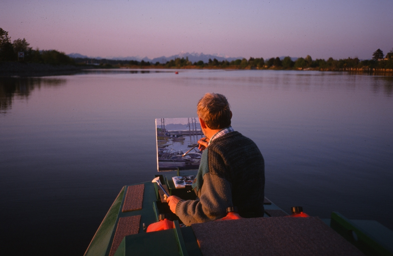 Robert Genn on his flat-bottomed scow  Alexander Mackenzie  on the Nicomeckl River, South Surrey, BC, Canada circa 2000.