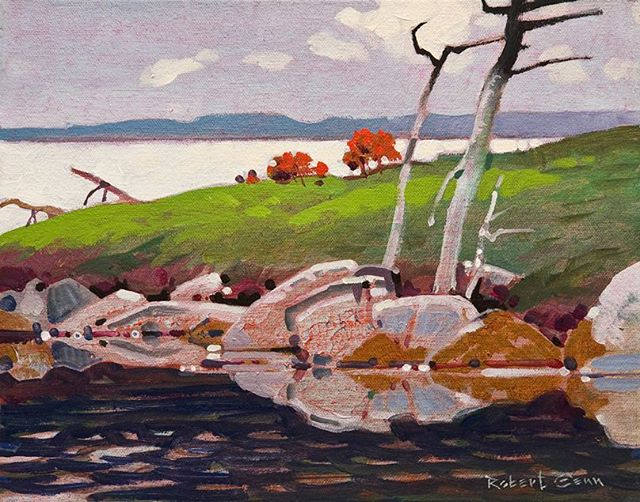 Point, Eaglenest Lake, North of Winnipeg with Al Stewart, 11 x 14 inches, acrylic on canvas, 2006 @whiterockgallery #robertgenn #canadianart